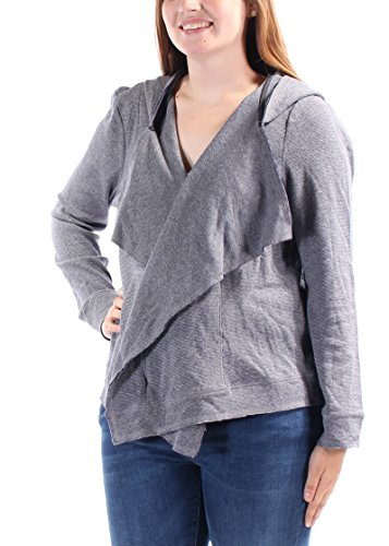 Tommy Hilfiger Womens Waffle Draped Cardigan Hooded Long SLVS Sweater Gray S New