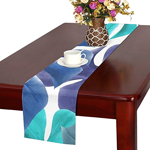 Jnseff Leaves Tropical Blue Green Nature Summer Exotic Table Runner, Kitchen Dining Table Runner 16 X 72 Inch For Dinner Parties, Events, Decor ()