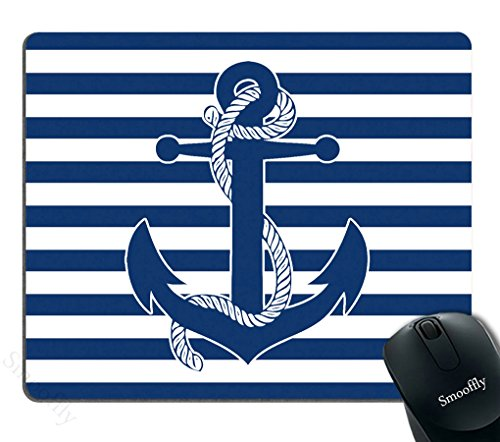 Smooffly Mouse Pad Custom Retro Nautical Anchor Personalized Design Non-Slip Rubber Mousepad