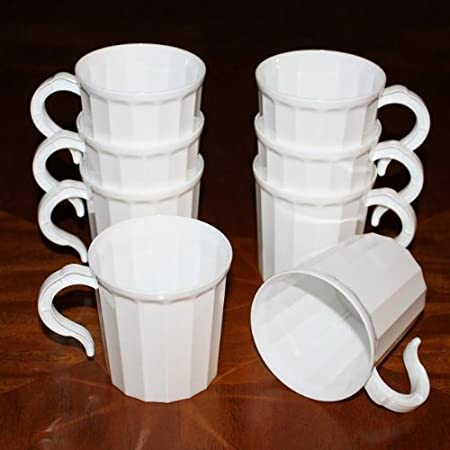 Box of 96 Plastic Coffee Mug Disposable Reuseable Drinking Cup with Handle (White)