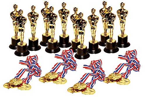 dazzling toys Set of 12 Golden Plastic Award Figure Trophies and 12 Medal Necklaces (Figure Trophy Gold)
