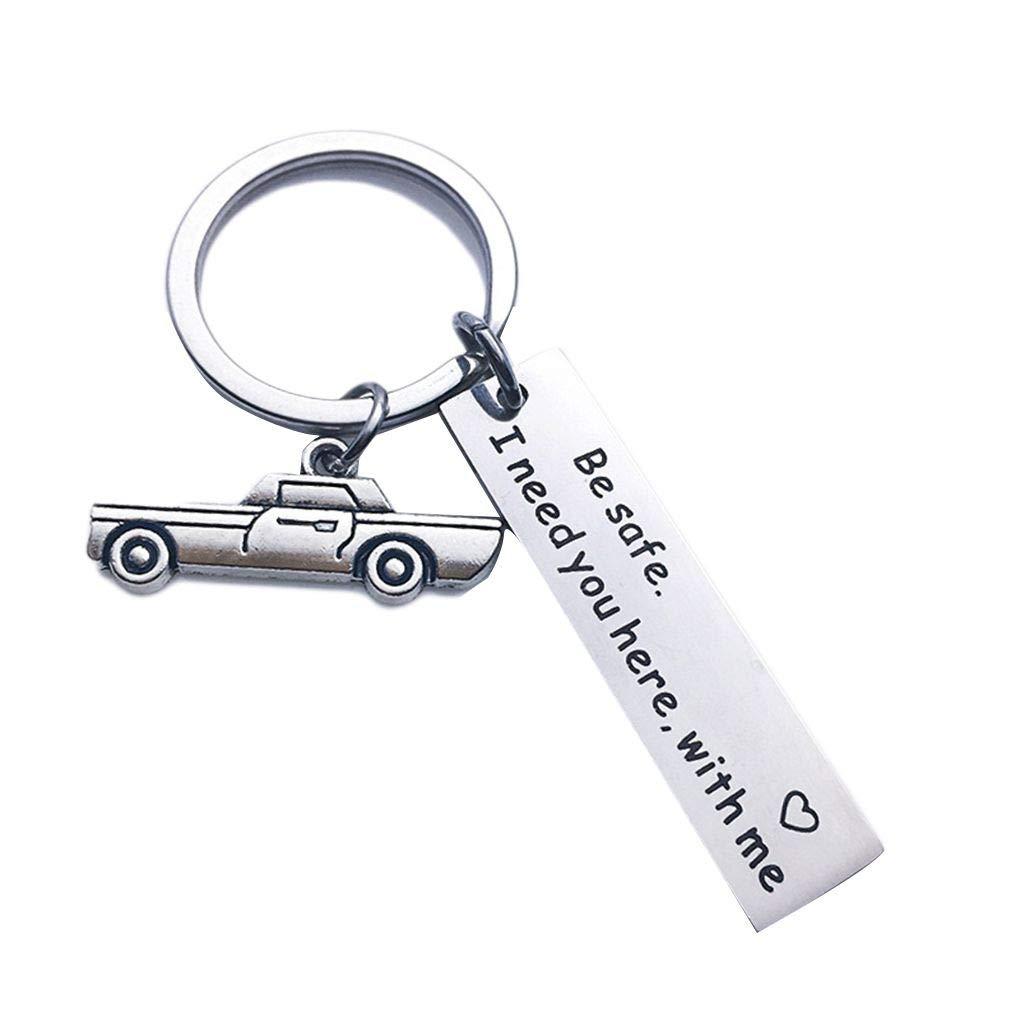 Personalisierte Schl/üsselanh/änger Edelstahl Auto-Schl/üsselring Ehemann Freund Geschenk Keychain Jinzuke Letters Gravierte Drive Safe Eigene