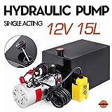 Mophorn Single Acting 15 Quart Hydraulic Pump Trailer 12 Volt 3.75 galMetal Reservoir Hydraulic Power Supply Unit with Remote Control car Lift