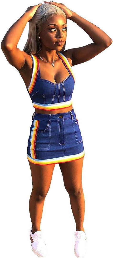 Women Sleeveless Denim Rainbow Stripe Tank Crop Top Short Skirts Set 2 Piece Mini Dress