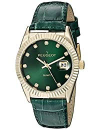 Peugeot Women's 14K Gold Plated Coin Edge Bezel Green Leather Band Dress Watch 3045GR