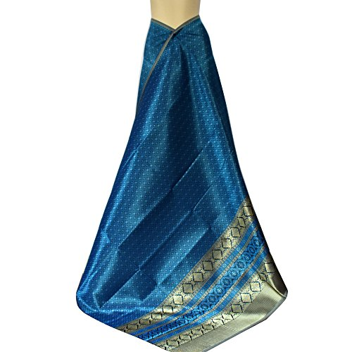 KunsA Thai Synthetic Silk Fabric Phumriang Traditional Blue-Green and Golden for Sarong/Dress 75''x 41'' by KunsA