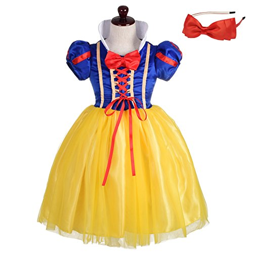 Lito Angels Girls' Princess Snow White Costume Fancy Dresses Up Halloween Outfit with Headband Size 8/10