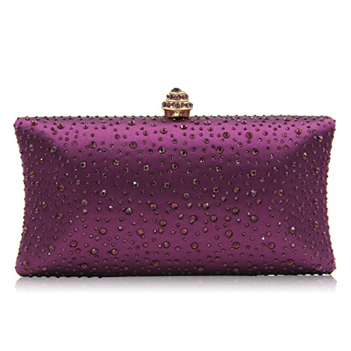 Party Dark Bag Glitter Fashion Womens Prom Bridal Evening Sparkly Purse Crystal Clutch Rhinestone Purple Handbag Diamante 56t6wPnq
