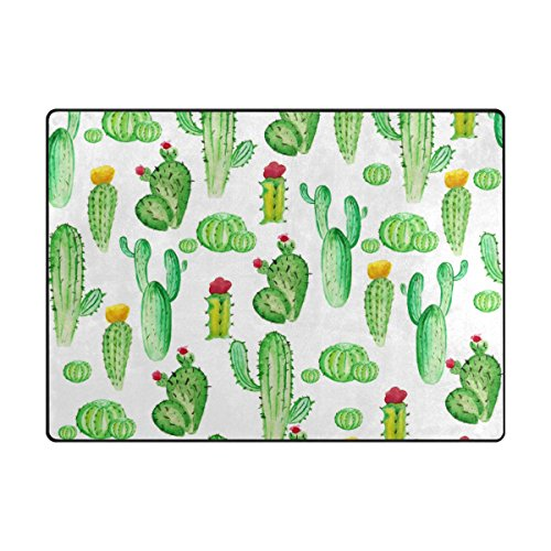 """My Daily Cute Cactus Watercolor Area Rug 4'10"""" x 6'8"""", Livin"""