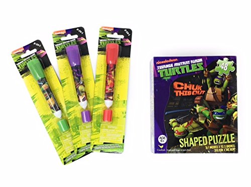 Chuk this Out Boys Nickelodeon Summer Teenage Mutant Ninja Turtle Fun Shaped Box Puzzle 48 pieces and Flashlight Pen 2 Piece Set (Assorted Color Flashlight) (Homemade Ninja Turtle Halloween Costumes)