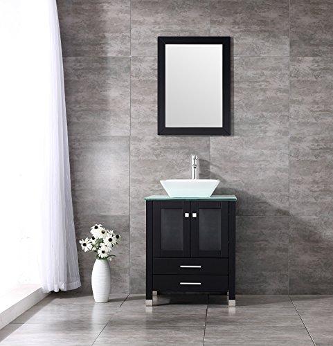 Sliverylake 24u0027u0027 Bathroom Vanity And Sink Combo Cabinet MDF Wood Top Single  Ceramic Vessel Sink Bowls On Top Of Vanity S90