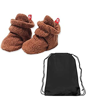 Unisex-Baby Newborn Cozie Fleece Bootie and Drawstring Athletic Bag