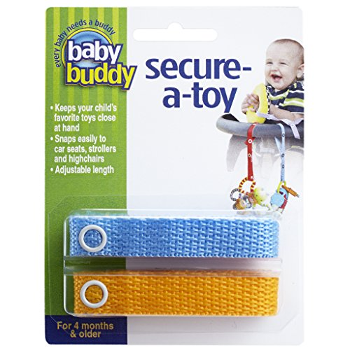 - Baby Buddy 2 Piece Secure-A-Toy Safety Strap, Blue/Gold