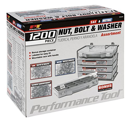 Performance Tool   W5226 1200pc Nut & Bolt Assortment