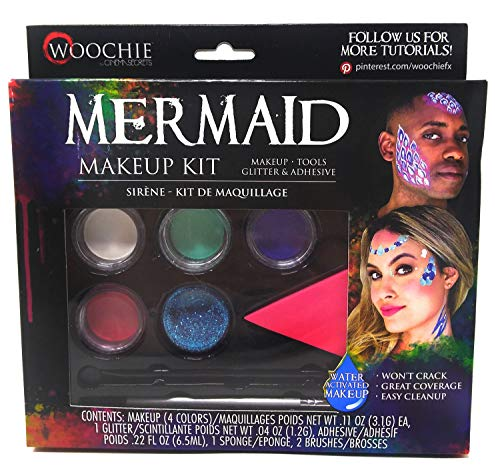 Woochie Water Activated Makeup Kit - Professional Quality Halloween and Costume Makeup - Mermaid