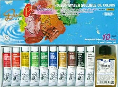holbein-duo-aqua-oil-compact-set-of-10-10ml-tubes-40ml-linseed-oil