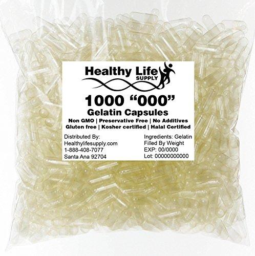 000 Capsules - Empty Gelatin Capsules - 1000 Size