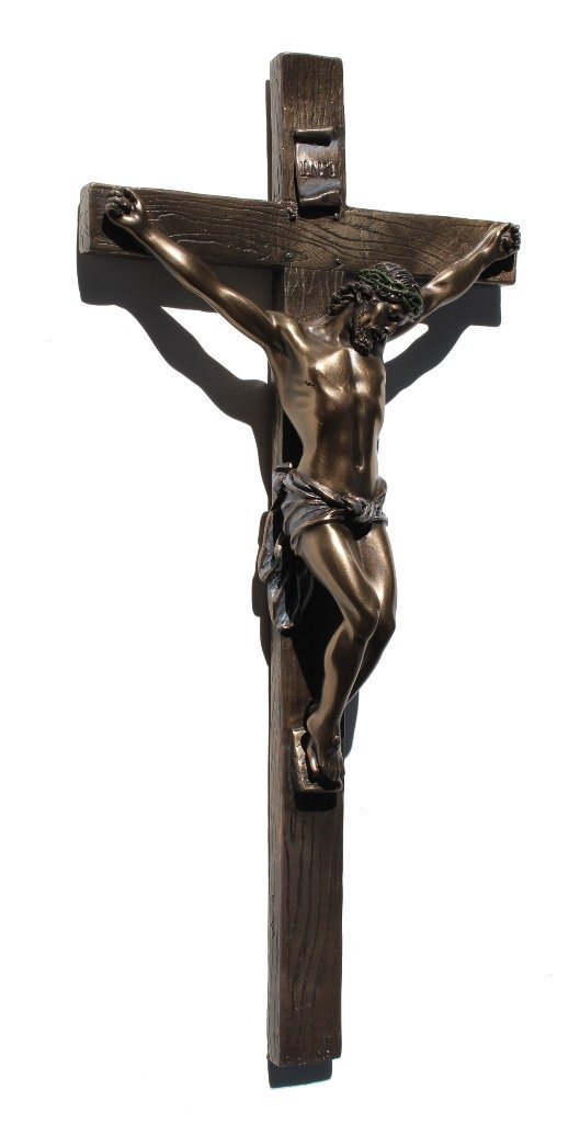 13 Inch Cold Cast Crucifix Religious Wall Plaque, Bronze Color by Unknown