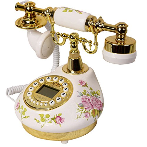 LXYFMS Ceramic Pastoral Antique Telephone Home Bedroom European Retro Fixed Telephone Living Room Seat Telephone from LXYFMS