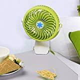 Gillberry Battery Or USB Operated Clip Fan Mini Desk Fan Portable Hand Held Powered (Green)