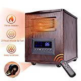 Infrared Heater - 1500W Space Heater Wood Cabinet Quartz Heater w/Temperature Control, 3 Heating & Fan Mode, Remote Control & Timer, Overheat/Tip-Over Protection, Room Heaters Indoor w/Wheels