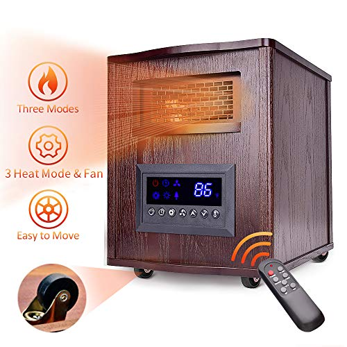 Infrared Heater - 1500W Space Heater Wood Cabinet Quartz Heater w/Temperature Control, 3 Heating & Fan Mode, Remote Control & Timer, Overheat/Tip-Over Protection, Room Heaters Indoor w/Wheels (For Heater Fan Wood)