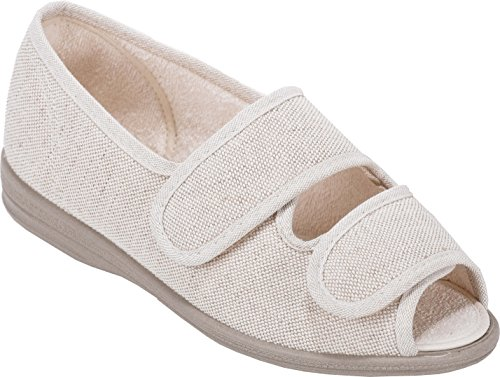 Cosyfeet Molly Fabric Shoes - Extra Roomy (Eeeee+ Width Fitting) Beige Cotton-mix
