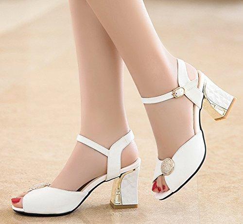 Graceful White Peep Sandals Ankle Toe Women's Aisun Strap 5nqTg4P4w