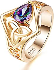Humasol Yellow Gold Plated Lab-Created Emerald Celtic Knot Ring for Women