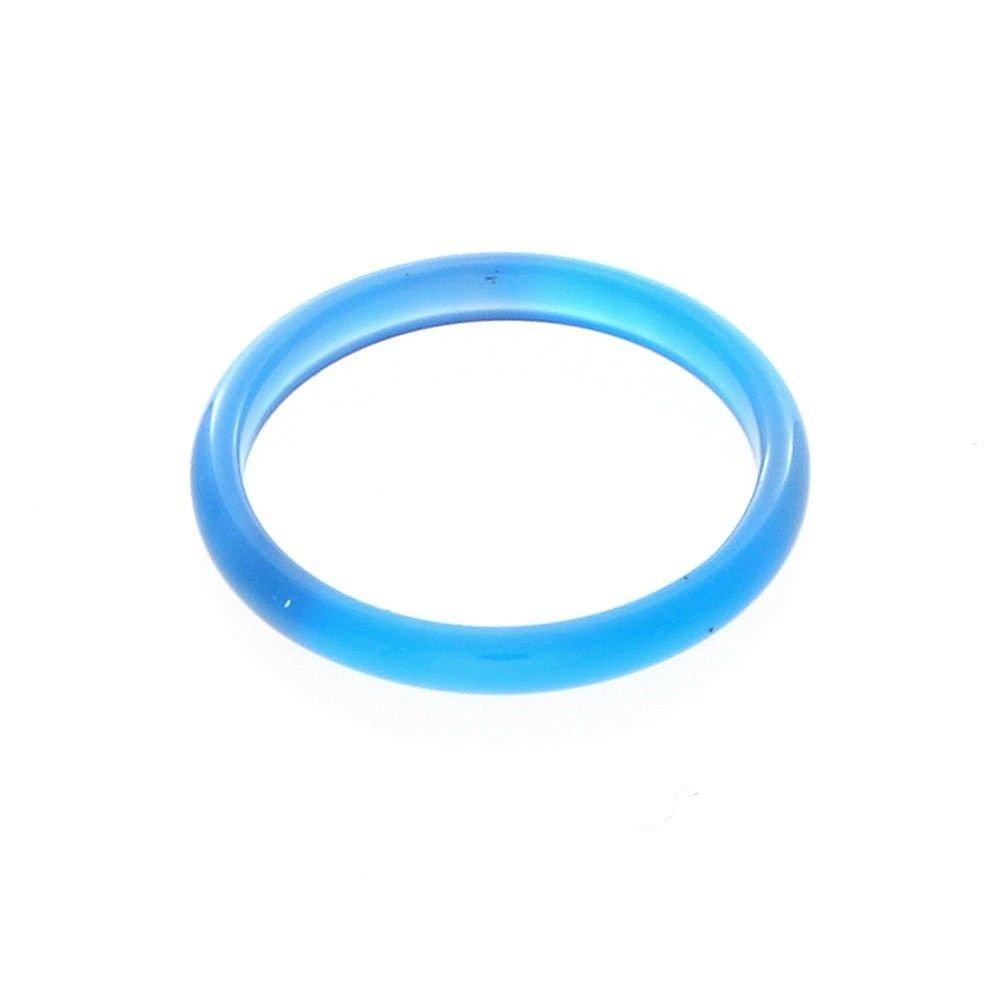 3mm Blue Agate Gemstone Plain Band Ring (6)