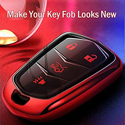 Intermerge for Cadillac Key Fob Cover, Premium Soft TPU 360 Degree Full Protection Key Fob Casel Compatible with 2015-2020 Cadillac Escalade, CTS, SRX, XT5, ATS, STS, and CT6, (Red,4-Buttons): Automotive