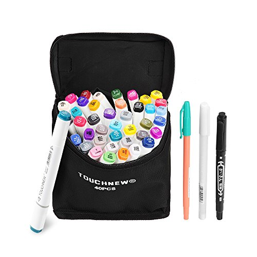 Make At Home Halloween Costumes For Adults (40 Colors TOUCHNEW Double-Ended Art Markers with Fine and Broad Tip, Perfect for Illustration, Sketch Comics, Cartooning, Anime(Product Design Selection)-Lightwish (40 Colors, White))