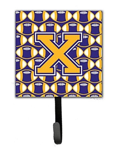 Carolines Treasures Letter X Football Purple and Gold Leash or Key Holder CJ1064-XSH4 Small Multicolor