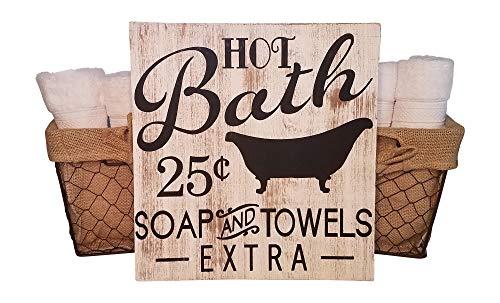 MyVintageFinds Bath Sign, Rustic and Farmhouse Bathroom Wall Decor, Made In The (Bath House Sign)