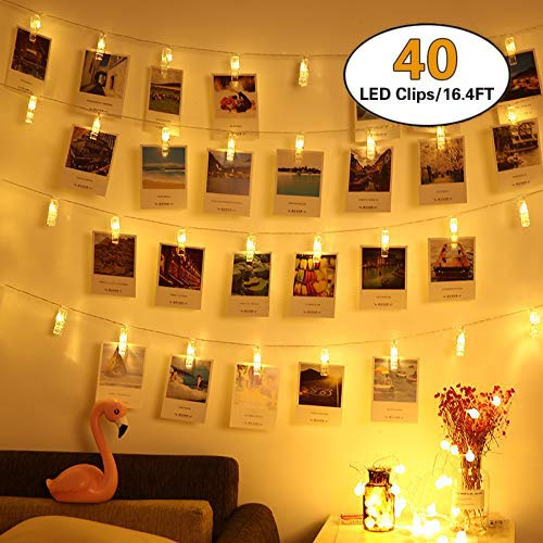 HEHUI 40 LED Photo Clips String Lights, Christmas Indoor Fairy String Lights for Hanging Photos Pictures Cards and Memos,Battery Powered, Ideal Gift for Dorms Bedroom Decoration(16.4 Ft, Warm White) (Ideas For Bedroom Light String)