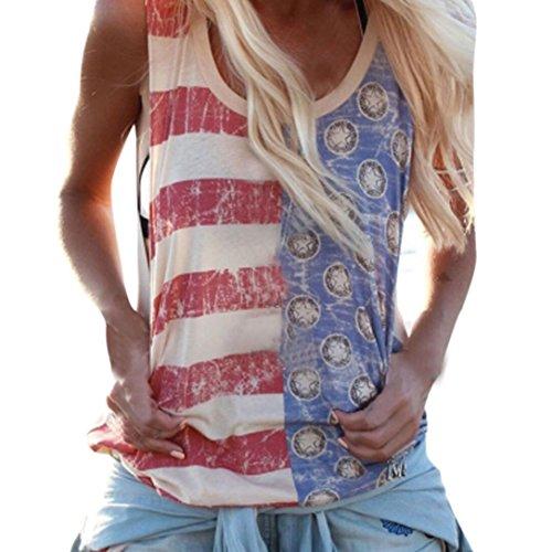 HongXander Womens Print Sexy Sleeveless Tank Striped Blouse T-Shirt (L2)