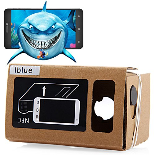 iBlue DIY Cardboard 3D VR Virtual Reality Glasses with Magnetic Sensor Support NFC for 3.5-5.5 inches Screen
