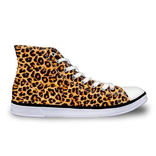 Stylish Outdoor Sport Sneakers Women Leopard Casual Flat High Top Canvas Shoes Size 6