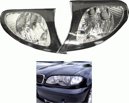 02-05 BMW E46 3-SERIES 4DR EURO CORNER LIGHTS - CRYSTAL CLEAR W/BLACK TRIM - Euro Trim Series