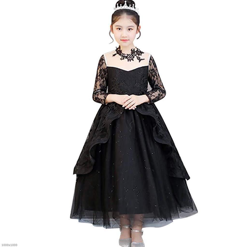 100cm Costume d'halFaibleeen Enfants noir Fantasy à Manches Longues Robe De Soirée Jeu De Rôle pour Les Représentations De Vacances, Cos Party,110Cm