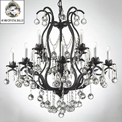 Wrought Iron Crystal Chandelier Chandeliers Lighting Dressed W/ Crystal Balls