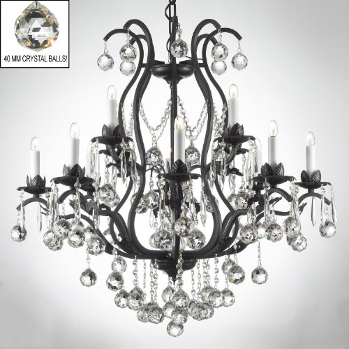 WROUGHT IRON CRYSTAL CHANDELIER CHANDELIERS LIGHTING DRESSED W/ CRYSTAL BALLS H36″ W36″