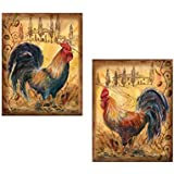 2 Countryside Roosters Country Kitchen Art Prints Posters 8x10 Barnyard