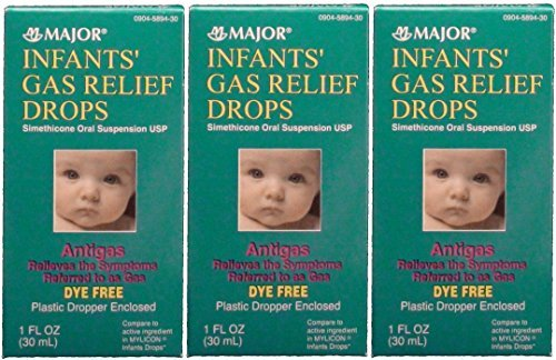 Infants Gas Relief Simethicone 20 mg/0.3ml Drops Dye Free Generic for Mylicon 1 oz (Pack of 9 (1 fl oz ea)) by Major Pharmaceuticals