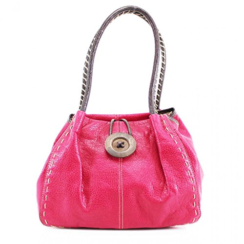 Flexible Designer x Quality Leather D15cm Women's Handbag x Women's LeahWard FUCHSIA Button Faux Bag CWRX140731 Wood Stunning W40cm H25cm Shoulder qaP1n5