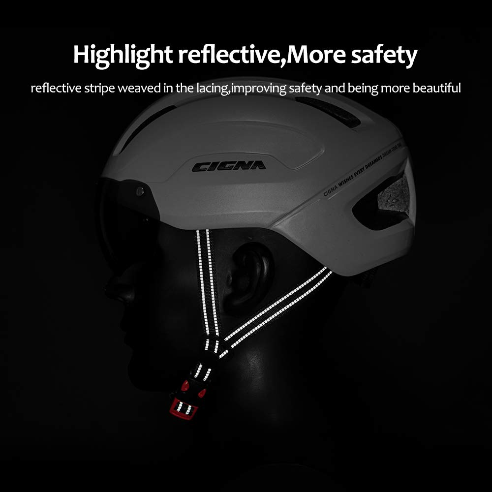 CIGNA Bike Helmet with USB Light Detachable Magnetic Goggles Removable Visor Road /& Mountain Bicycle Cycling Helmets Adjustable Size for Adult Men//Women