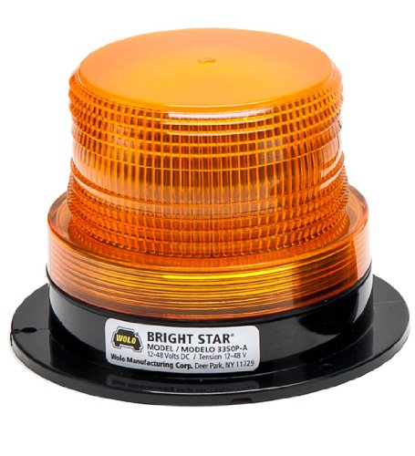 Wolo (3350P-A) Bright Star Emergency Warning Strobe Light - Amber Lens, Permanent Mount