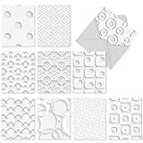 51oNptXBjtL. SL160  - M2031 White On White: 10 Assorted Blank All-Occasion Note Cards Featuring Dimensional-Looking Graphics, w/White Envelopes.