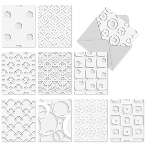 M2031-White-On-White-10-Assorted-Blank-All-Occasion-Note-Cards-Featuring-Dimensional-Looking-Graphics-wWhite-Envelopes