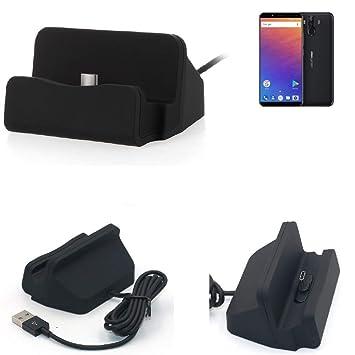 KS-Trade Dock USB para el Ulefone Power 3, Negro | estación de Carga Base Cargador de Escritorio Estacion Compacto y Discreto. Type C Docking Station
